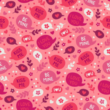 St. Valentine's Day Seamless Pattern With Speech Bubbles, Flowers, Hearts