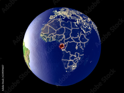 Fotografie, Obraz  Gabon from space on model of planet Earth with city lights