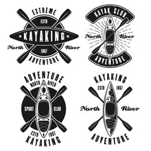 Kayaking Set Of Four Vector Monochrome Emblems