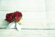 Zwei Rosen Auf Weißem Hinterg...