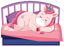 A Unicorn Sleeping On The Bed