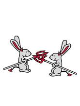 Kampf 2 Freunde Feinde Team Hölle Böse Dreizack Dämon Teufel Satan Hase Kaninchen Süß Niedlich Klein Comic Cartoon Häschen Clipart Haustier