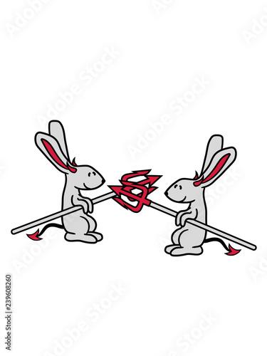 Fotografía  kampf 2 freunde feinde team hölle böse dreizack dämon teufel satan hase kaninche