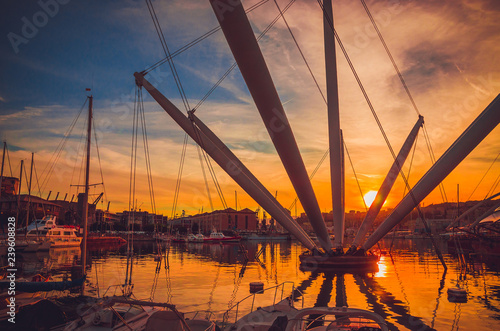 Fotografia  Panoramic view of old port of Genoa at sunset, Liguria, Italy