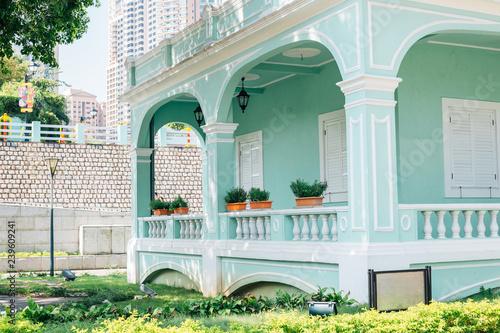 Printed kitchen splashbacks Light blue Taipa village colorful house in Macau