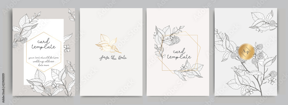 Fototapeta Wedding Invitation, floral invite thank you, rsvp modern card Design in golden rose leaf greenery  branches decorative Vector elegant rustic template