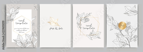 Wedding Invitation, floral invite thank you, rsvp modern card Design in golden r Slika na platnu