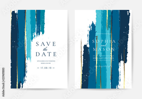 Obraz Wedding invitations and Card Template Design with Painted canvas White Marble and gold foil in luxurious style  Vector Illustration. - fototapety do salonu