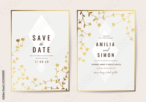 Fototapeta Wedding Invitation Cards With Gold Floral And Luxurious Background Texture Vector Design Template
