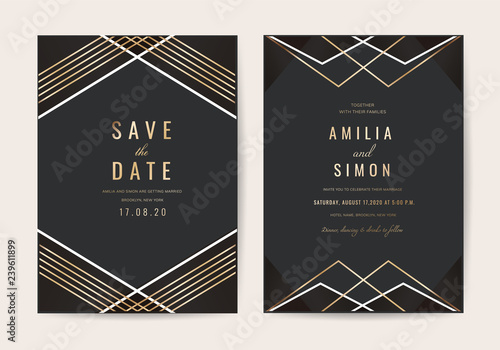 Cuadros en Lienzo Wedding invitations card with Luxurious geometric pattern vector design template