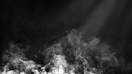 Dry ice smoke clouds fog floor texture. .White perfect spotlight mist effect on isolated black background