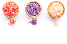 Colorful Bath Salt Pink And Violet On White Background Top View Space For Text