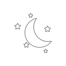 Half Moon And Stars Icon. Element Of Web For Mobile Concept And Web Apps Icon. Thin Line Icon For Website Design And Development, App Development
