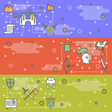 Vector Thin Line Art Medieval Knights Web Banner Template Set