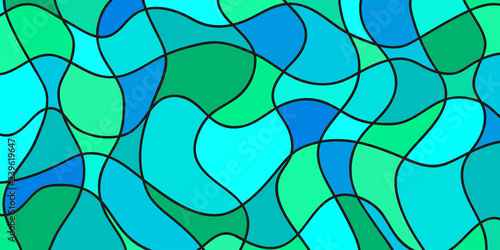 Spoed Foto op Canvas Turkoois Abstract nautical wallpaper of the surface. Wavy sea background. Mosaic pattern with waves. Multicolored texture. Decorative backdrop