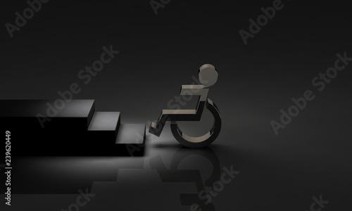 Fotografia, Obraz  段差の前で立ち往生する車椅子