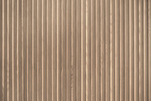 Wood Slats, Timber Battens Wall Pattern Surface Texture. Close-up Of Interior Material For Design Decoration Background
