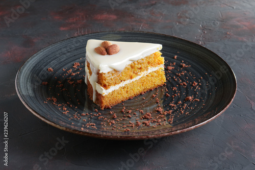 Piece of honey cake with almonds Wallpaper Mural