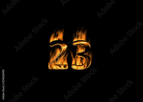 Tela  3D number 23 with flames black background