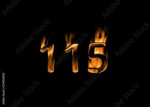 Fotografia  3D number 115 with flames black background