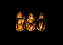 3D Number 380 With Flames Blac...