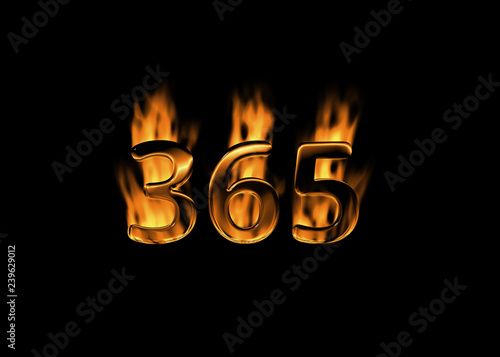 Fotografiet  3D number 365 with flames black background