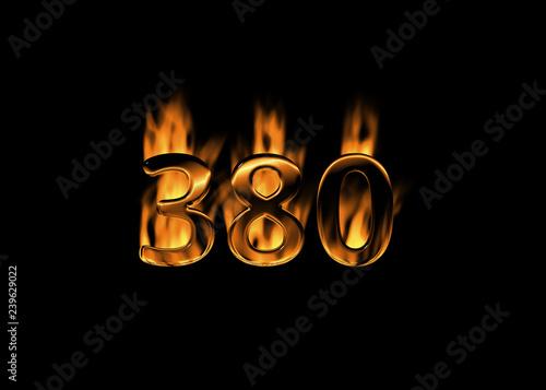 Fotografia  3D number 380 with flames black background
