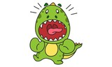 Fototapeta Dinusie - Vector cartoon illustration of cute dinosaur with open mouth. Isolated on white background.