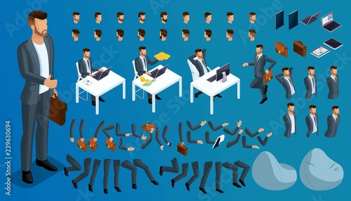 Fototapeta Large isometric Set of gestures of hands and feet of men, 3D character businessman. Create your own isometric person who walks around or sits for vector illustrations obraz