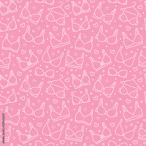 Lingerie Seamless Pattern With Flat Line Icons Of Bra Types