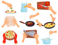 Hands Preparing Food, Process Of Cooking Pasta, Meat, Pizza, Fish Vector Illustration On A White Background