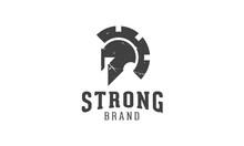 A Vector Spartan Logo That Represents A Combination Of Spartan Helmet And Gear.