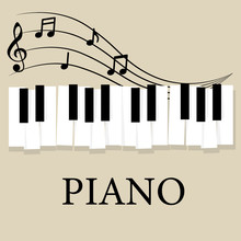 Music Piano Keyboard With Notes. Poster Background Template. Music Vector Background