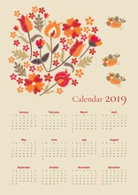 Cute Calendar For 2019 Year. Week Starts On Sunday. Vector Template With Embroidered Bouquet Of Flowers And Flying Birds.