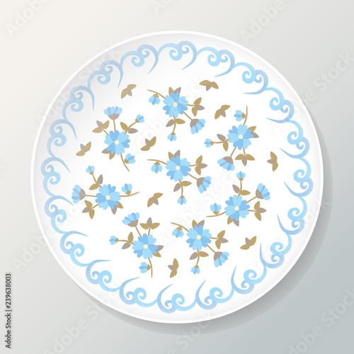 Fotografie, Obraz  Decorative plate with floral composition of beautiful blue flowers