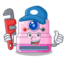 Plumber Instant Camera Isolated On A Mascot