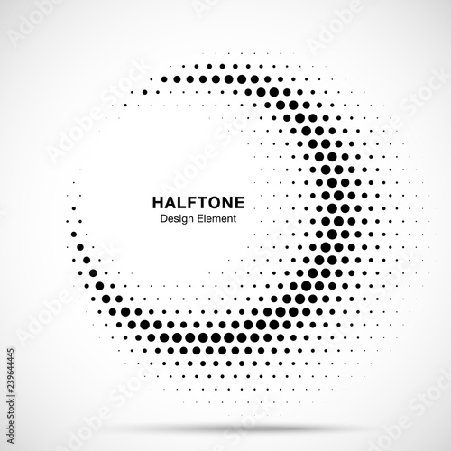 Halftone circle frame abstract dots logo emblem design element for medical, treatment, cosmetic. Half moon. Round border Icon using halftone circle dots raster texture. Vector illustration.  Wall mural