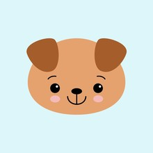 Cartoon Cute Puppy, Drawing For Kids. Vector Illustration. Flat Style