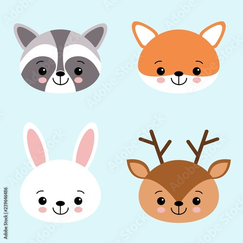Vector icon set of cute forest animals white hare or rabbit, raccoon, deer and fox.