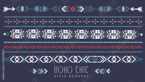 Poster Boho Stijl vintage vector illustration boho chic style borders