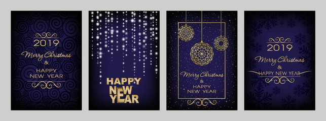 Christmas decorations on dark blue background. Merry Christmas and Happy New Year. Luminescent glow, snowflakes, stars, serpentine, shine garlands and christmas balls. Christmas set.