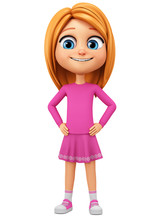 Character Cartoon Girl In Pink Clothes On A White Background. 3d Rendering. Illustration For Advertising.