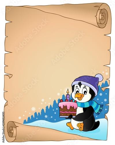Penguin holding cake theme parchment 1