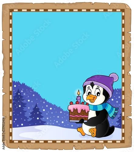 Penguin holding cake theme parchment 2