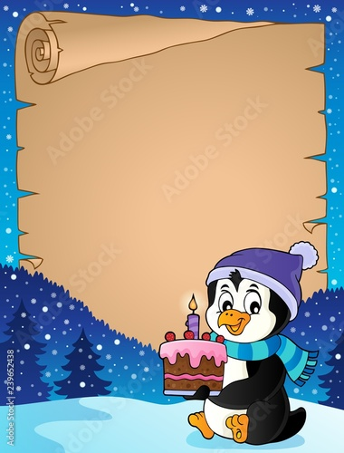 Penguin holding cake theme parchment 3