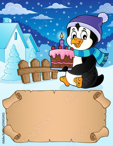Small parchment and penguin with cake