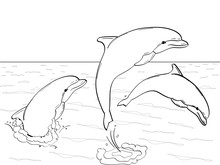 Raster Of Imitation Retro Comic Style. Rest On The Sea, Three Dolphins Play In The Water. Book Coloring For Children