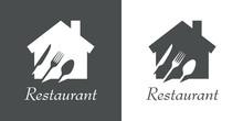 Logotipo Texto Restaurant Con Cubiertos En Espacio Negativo En Vivienda En Gris Y Blanco
