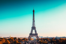 View Of Eiffel Tower Against Clear Blue Sky