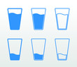 Full and empty glass of water flat icon set (single color, outline and fill)